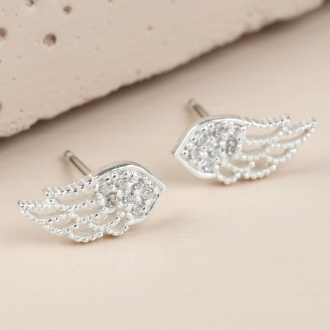 Silver Crystal Wing Stud Earrings
