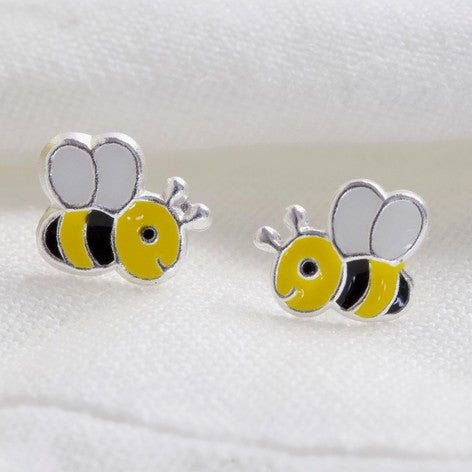 Sterling Silver Cute Bee Stud Earrings
