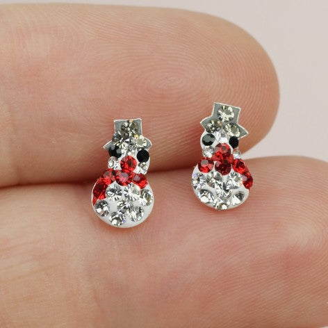 Sterling Silver Diamante Snowman Christmas Earrings
