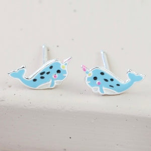 Sterling Silver Enamel Narwhal Stud Earrings