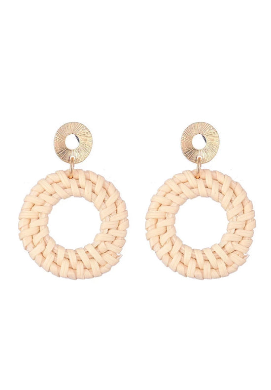 Beige Straw Earrings