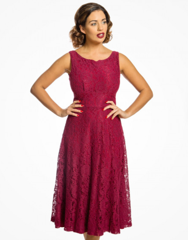 'Ellie' Burgundy Lace Midi Swing Dress