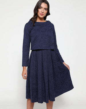 'Eva Rae' Navy Swing Dress and Jacket Twin Set