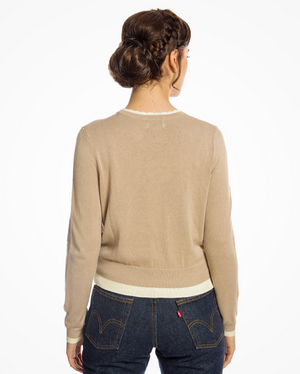 'Alysa' Retro 1950s Knitted Sweater In Sand With House Intarsia