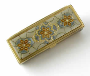 Speert Pearl White, Blue and Crystal Antique Brass Mirrored Lipstick Case