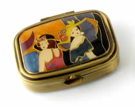 "Speert Antique Brass ""Two Classic Ladies"" 2 Compartment Oval Pill Box"
