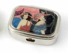 "Speert Silver ""Two Classic Ladies"" 2 Compartment Oval Pill Box"