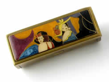 "Speert Antique Brass ""Classic Ladies""  Mirrored Lipstick Case"