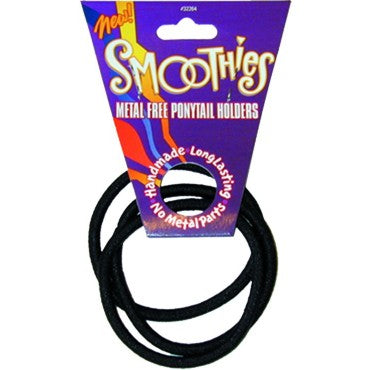 Smoothies Metal Free Pony Tail Holder - 3 Pack Large - Black