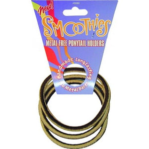 Smoothies Metal Free PonyTail Holders -3 Pack Large - Brown/Tan