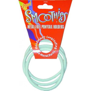 Smoothies Metal Free Pony Tail Holder - 3 Pack Large - White