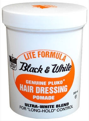 Black & White Genuine Pluko Hair Dressing Light Pomade 7oz