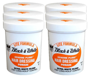 Black & White Genuine Pluko Hair Dressing Light Pomade - 6 Pack - 7oz