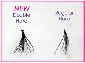 Dozen Medium Black Double Flare Generic Lashes