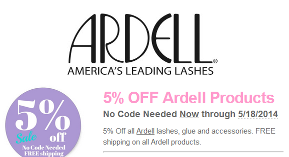 5% OFF all Ardell Lashes!