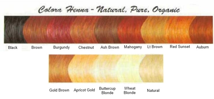 Colora Henna Color Chart