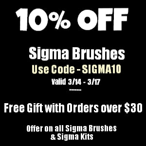 10% OFF Sigma Brushes and Kits!