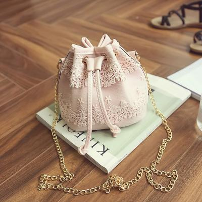 Canvas Drawstring Lady Bucket Bag with Chains - bagsstore-us