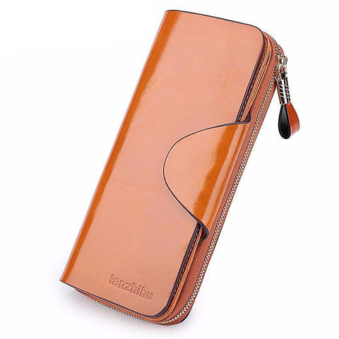 Luxury Elegant Genuine Leather Zip Wallet/Purse For Women - bagsstore-us