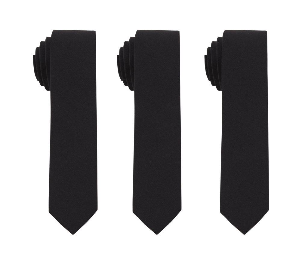3 SOLID BLACK TIES