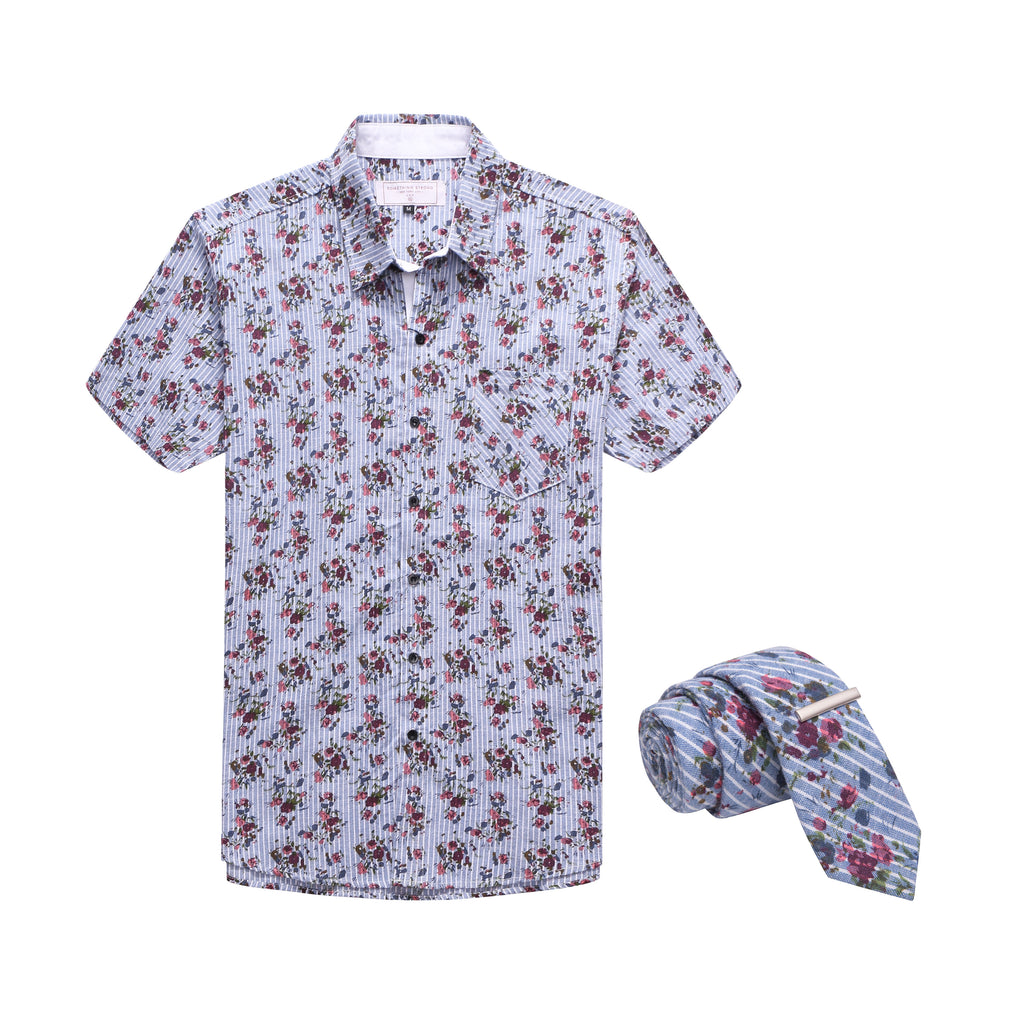 FLOWER BOMB SHIRT AND TIE SET
