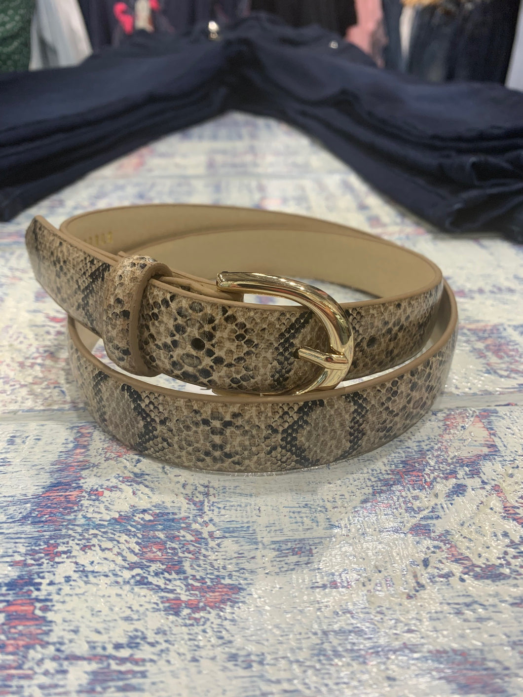 Sella and Gemma Snake Skin Belt