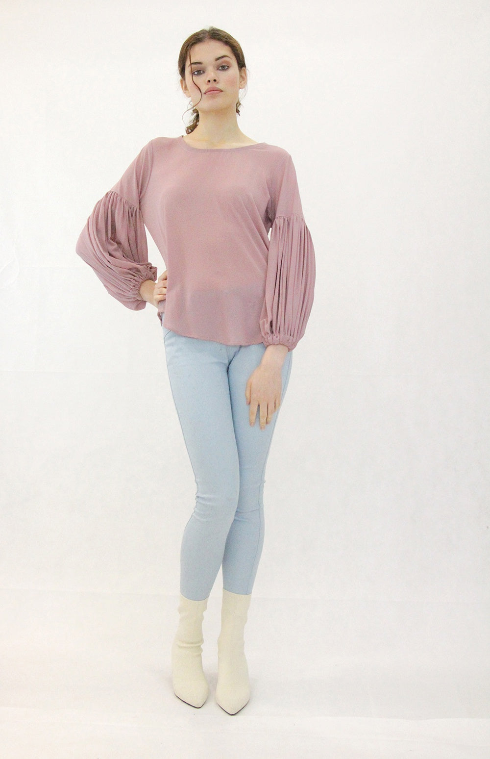 Jaclyn M Alwyn Gathered Sleeve Blouse Rose