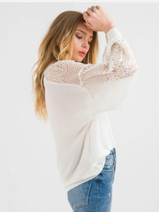Stitch Ministry Lace Sleeve Top - White
