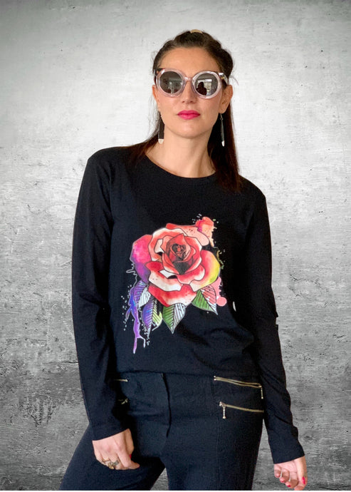 Anyone's Daughter Midnight Rose Tee - Pink/Black