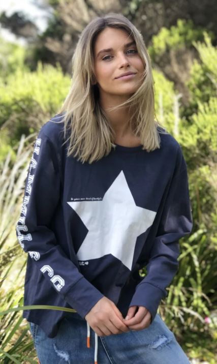 Hammill & Co Heritage Tee - Navy long sleeve tee with white star