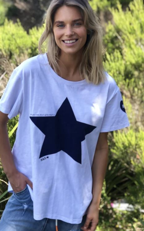 Hammill & Co Heritage Tee - White with navy star