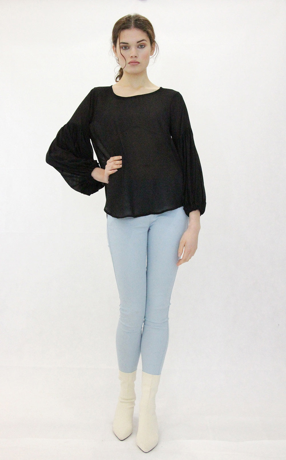 Jaclyn M Alwyn Gathered Sleeve Blouse Black