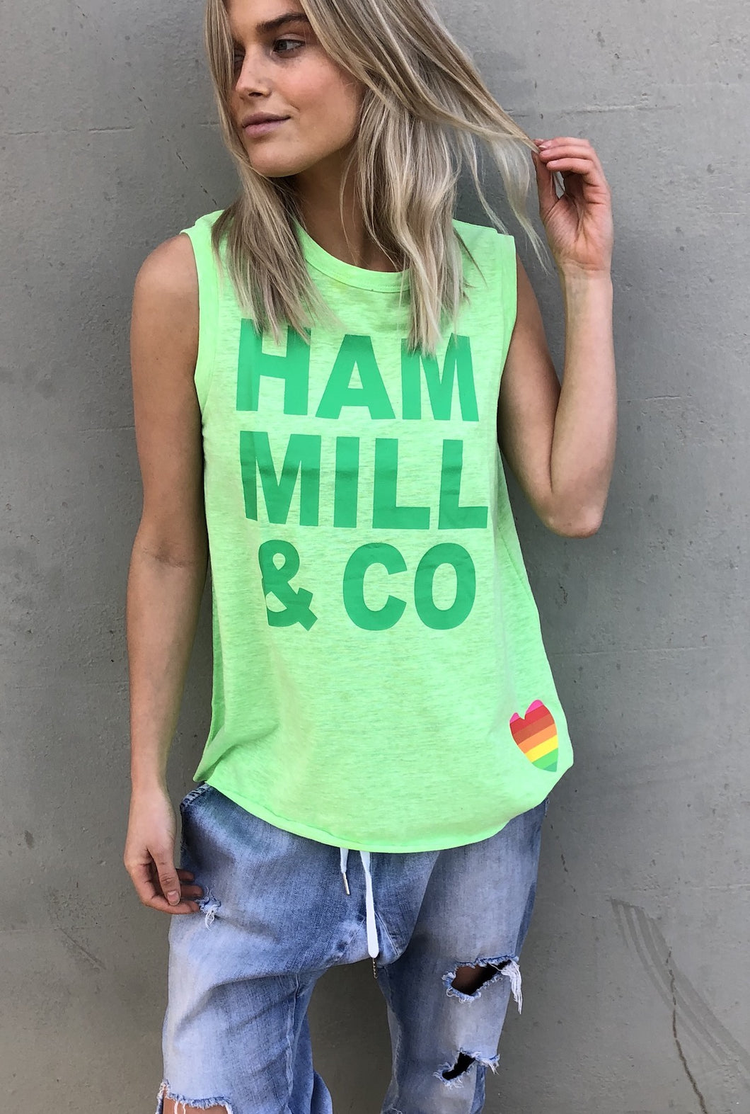 Hammill + Co Sunday Eagle Logo Tank - Green/Charcoal/Pink