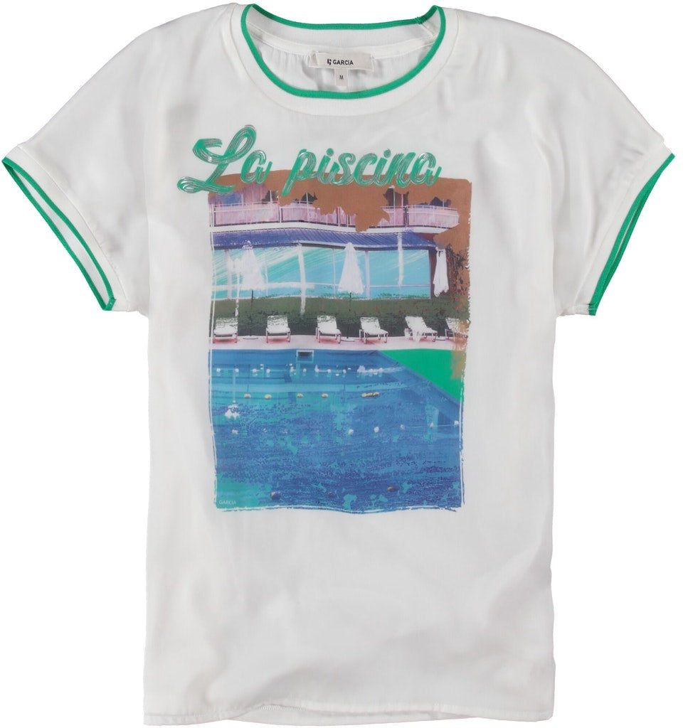 Garcia Tee with satin front - white