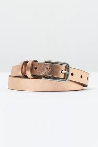 Loop Leather Metallic Rose Gold Belt