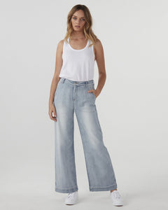 Jac and Mooki Wide Leg Vintage Wash Jean