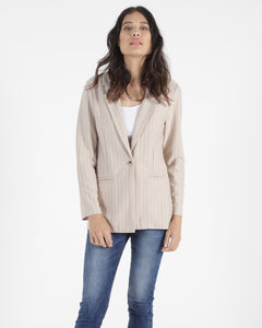Betty Basics Jordan Blazer - Ecru Stripe
