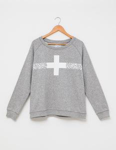 Stella + Gemma Sweater - Grey - Black White Cheetah Stripe