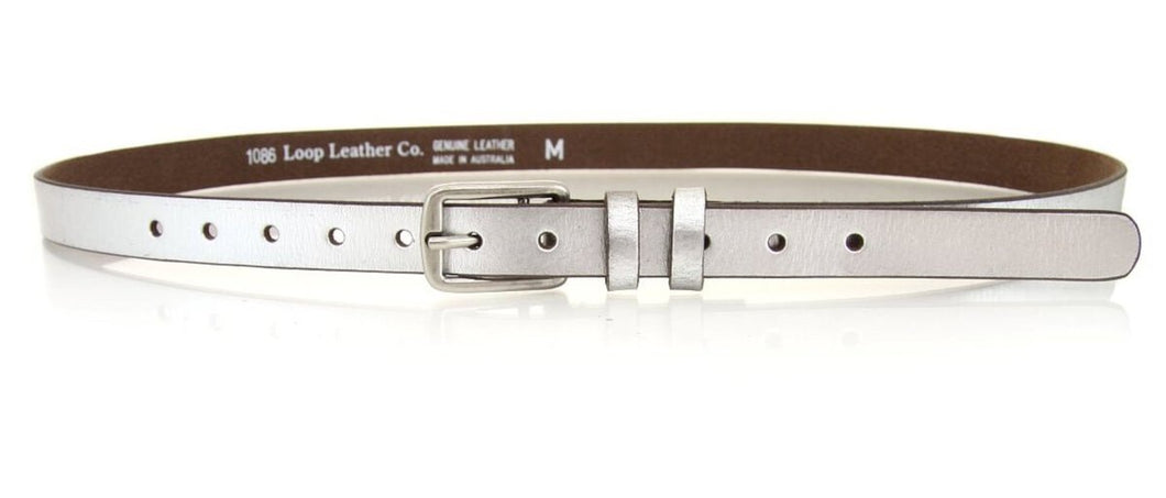 Loop Leather Metallic Silver Belt