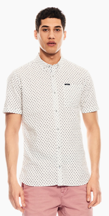 Garcia Mens White Shirt With Allover Print