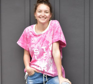Style Laundry Tie Dye Slouch Tee - Pink