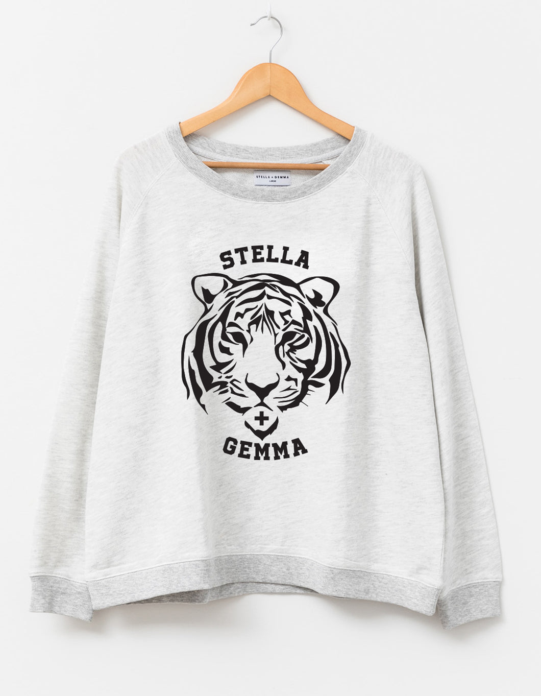 Stella + Gemma Sweater  - Snow Charcoal Flocked Tiger