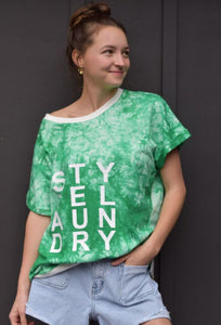 Style Laundry Tie Dye Slouch Tee - Emerald