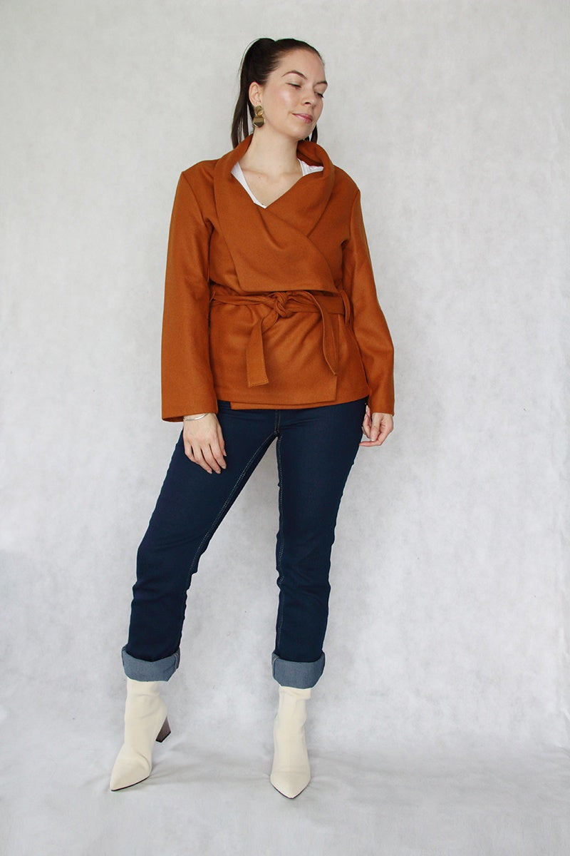 Jaclyn M Rosie Wool Wrap Jacket Rust