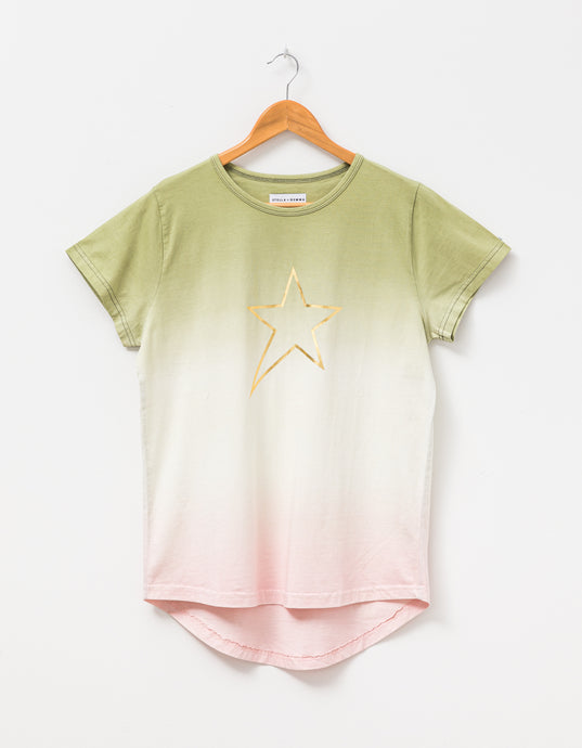 Stella + Gemma Tee - Ombre Chive/Rose