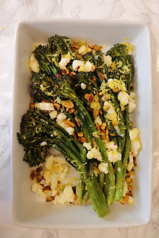 Roasted Sprouting Broccoli with Feta, Pistachios, and Lemon