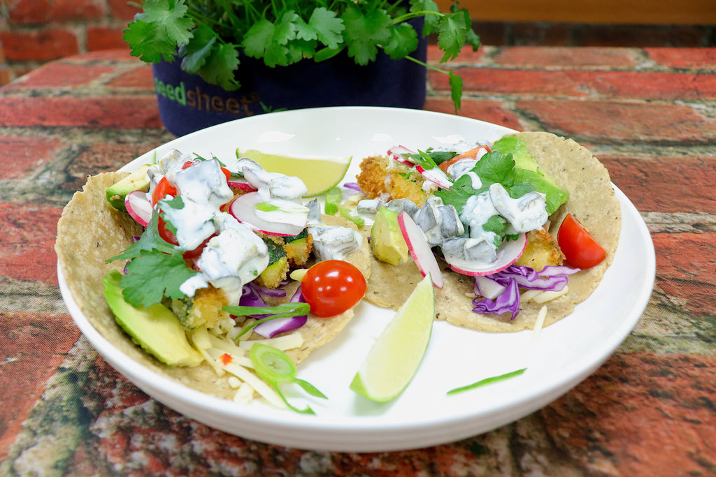 Crispy Zucchini Tacos with Roasted Poblano Crema