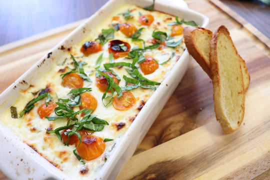 Cheese, Herb, and Tomato Dip with Crostini