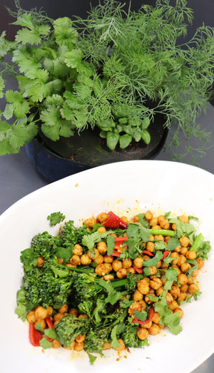Chili Oil Sautéed Sprouting Broccoli and Chickpeas