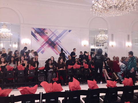 Inside of NYFW at the Stewart Hotel watching the designers premiere showcase